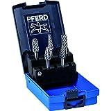 PFERD 26553 5 Piece STEEL Cut Carbide Bur Set with Plastic Case, 1/4'' Shank