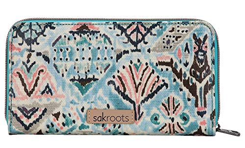 Sakroots Artist Circle Large Wallet, Turquoise Brave Beauti (World Best Wallet Brand)
