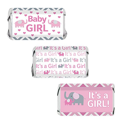 Pink and Gray Elephant Baby Girl Shower Miniatures Candy Bar Wrapper Stickers (Set of 54) -