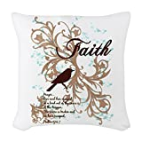 Woven Throw Pillow Faith Prayer Dove Christian Cross