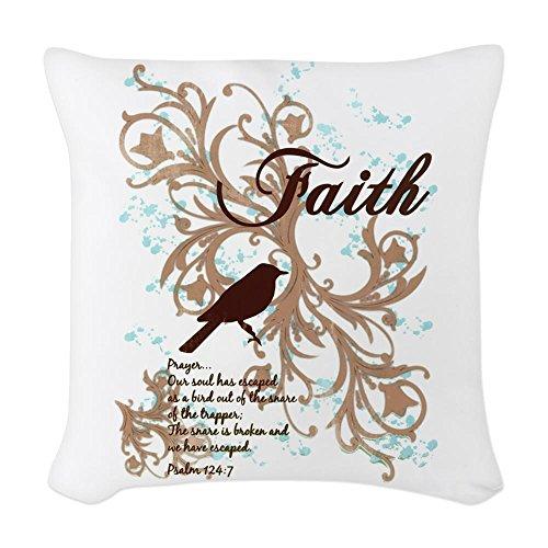 Woven Throw Pillow Faith Prayer Dove Christian Cross by Royal Lion