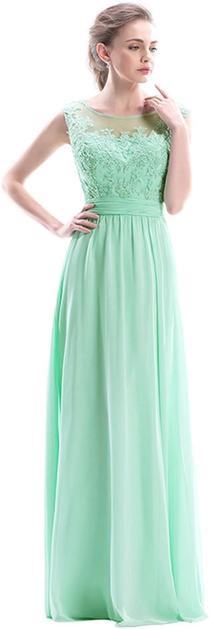 Belicia Langes Abendkleid Spitze Abiballkleid Festlich Damen Kleid