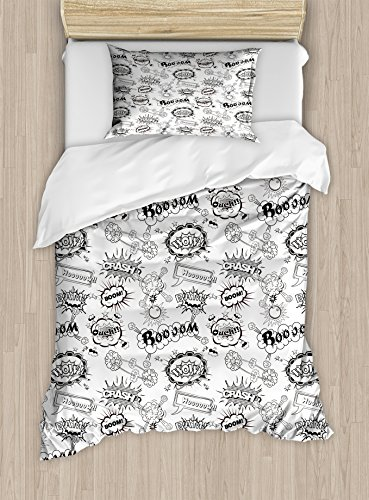 Doodle Duvet Cover (Lunarable Sketch Duvet Cover Set, Pattern with Comic Book Doodle Speech Bubbles Sound Effects Cloud Pop Art Humor, Decorative 2 Piece Bedding Set with 1 Pillow Sham, Twin Size, Black)