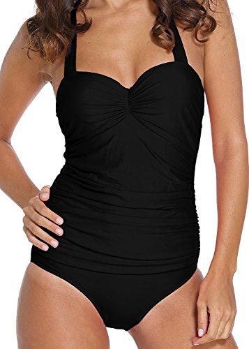 AFFINEST Mujer más traje Bañadores Bañador Baño Ropa Playa Una Pieza Trajes Bikini Beachwear negro