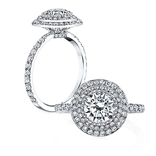 925 Sterling Silver Women Ring Engagement Wedding Band Cubic Zirconia Big Round Size 8.5 by Epinki