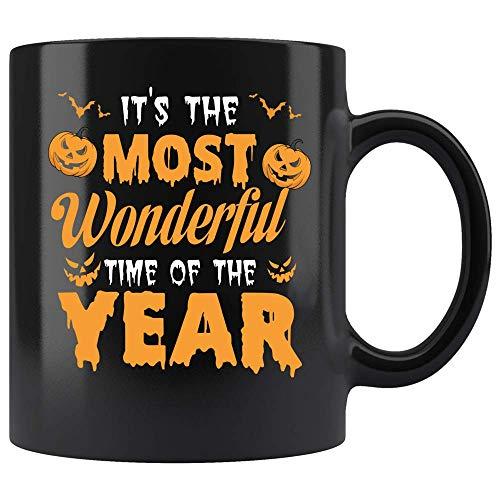 Coffee Mug Halloween Most Wonderful Time Of The Year Bats Coffee Mug Ceramic (Black, 11 OZ) ()
