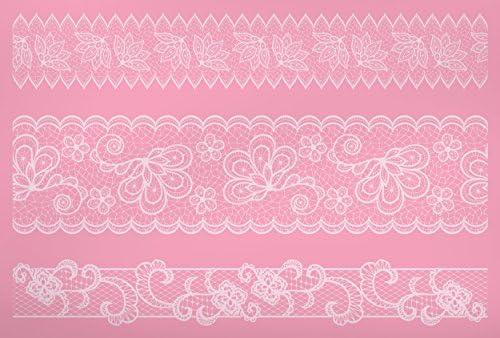 Kitchen Craft Sweetly Does It Mustermatte zum Verzieren von Torten, 40 x 27 cm, aus Silikon, Motiv Spitzenbordüre, Pink