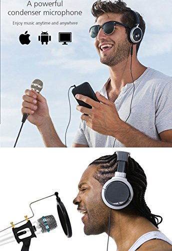Professional Recording Microphone condenser With Stand,3.5mm Plug&Play Computer Microphone For PC Iphone Ipad Podcasting Phone Laptop Karaoke Youtube Singing Gaming by JINHI by JINHI (Image #5)