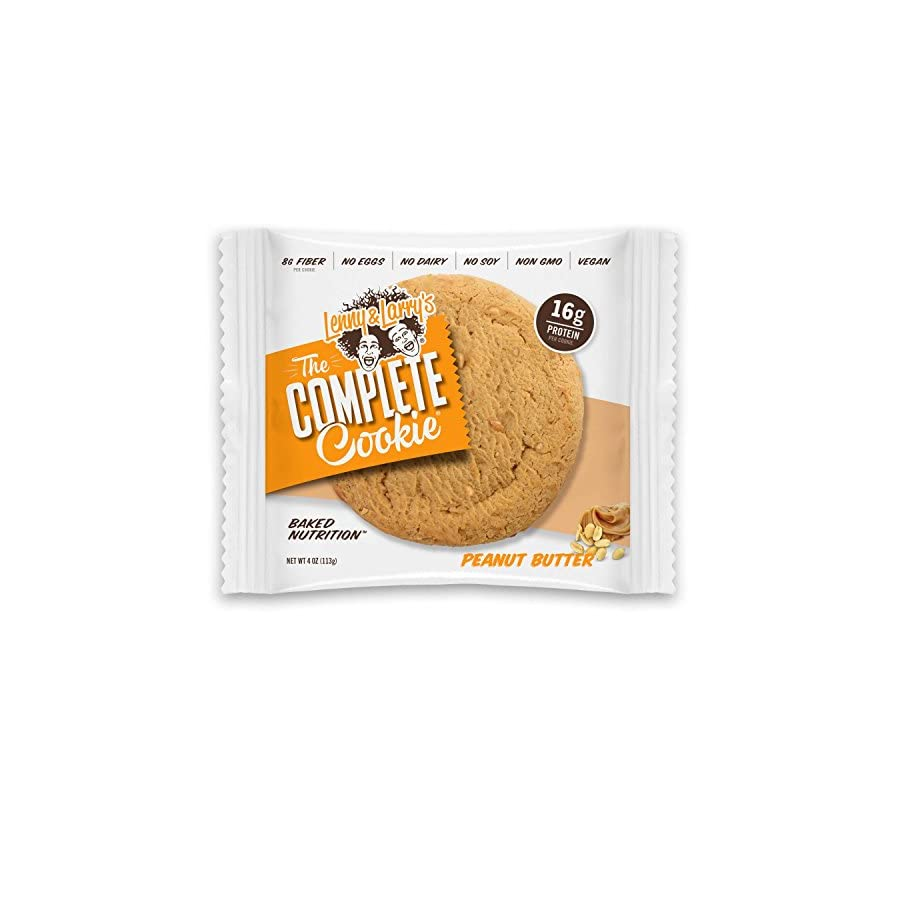 Lenny & Larry's The Complete Cookie, Peanut Butter, Soft Baked, 16g Plant Protein, Vegan, 4 Ounce Cookies (Pack of 12)