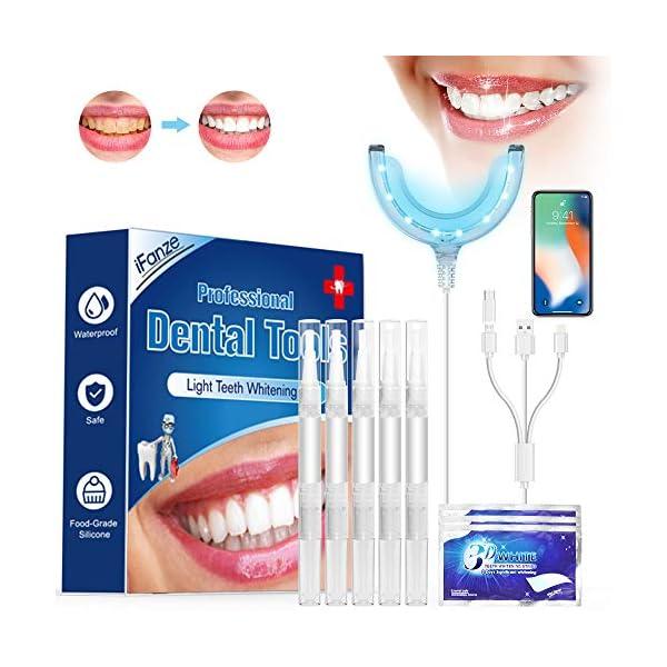Kit de Blanqueamiento Dental Gel 5PCS ifanze Blanqueamiento de Dientes Luz*1, Blanqueador Dientes Tiras*3, Blanqueador… 8