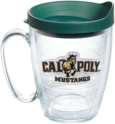 (Tervis 1269570 Cal Poly Mustangs Logo Insulated Tumbler with Emblem and Hunter Green Lid, 16oz Mug, Clear)