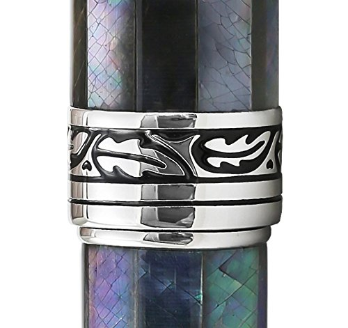 Xezo Maestro Natural Iridescent Black Mother of Pearl Platinum Plated Roller Pen. No Two Pens Alike by Xezo (Image #4)'