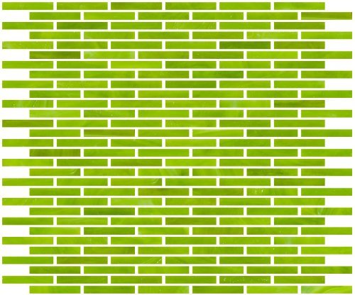 Susan Jablon Mosaics - 1/4 Inch Lime Green Stained Glass Subway Tile (Green Stained Glass Mosaic Tile)