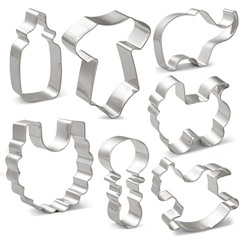 KENIAO Baby Shower Cookie Cutter Set - 7 Piece - Onesies, Bib, Rattle, Feeding Bottle, Baby Carriage, Rocking Horse and Elephant Shape Fondant/Biscuit Cutters - Stainless -
