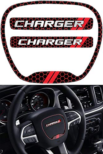 JDL Autoworks 2015-2019 Dodge Charger Steering Wheel Emblem Kit | 3D Domed Badge Overlay Decal Trim Cover Sticker Set | Charger Interior Accessories