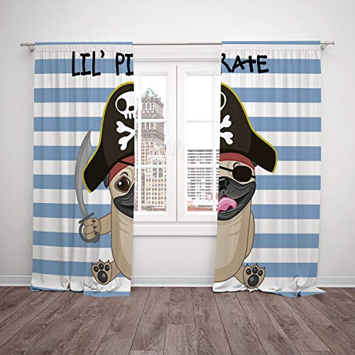 (iPrint 2 Panel Set Satin Window Drapes Kitchen Curtains,Pirate Buccaneer Dog in Cartoon Style Costume Holding Sword Lil Pirate Striped Backdrop Multicolor,for Bedroom Living Room Dorm Kitchen)