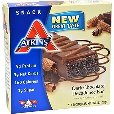 Atkins Advantage Bar Dark Chocolate Decadence - 5 Bars - 10 g Protein - 1 g Sugar