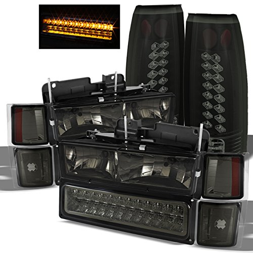 For [Smoke Set] 94-98 Chevy C/K 1500 2500 3500 Suburban Tahoe Pickup Headlights+LED Bumper+LED Tail lights