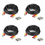 4-Pack 60 Feet BNC Video Power Cable, BOSICAN Pre-Made All-in-one Security Camera Wire Cord with 8 BNC to RCA Connectors for 960H, AHD CCTV DVR Surveillance System