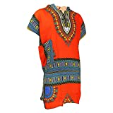 Men's Orange and Blue Traditional V-neck Dashiki with Double Pockets and Hood