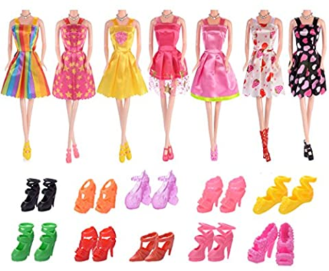 BAIUILY 7-Pack Barbie Doll Clothes and10-pair Barbie Doll Shoes Handmade Wedding Dress Party Gown Clothes Outfits for Girl's Birthday Gift