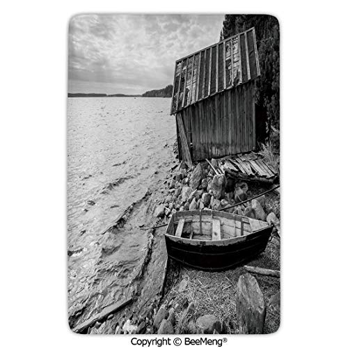 Mat Non-Slip Soft Entrance Mat Door Floor Rug Area Rug for Chair Living Room,Black and White Decor,Old Wooden Fishing Boat and Abandoned Barn on Lake Coastal Charm Picture,Grey,16 x 24 in