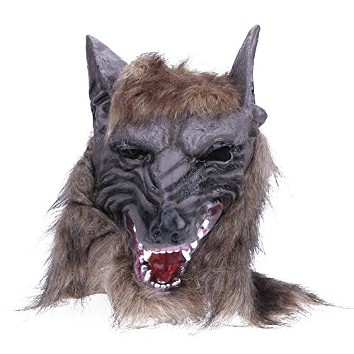 Gowind7 Halloween Party Scary Mask Vinyl Hairy Wolf Head Mask Cosplay Full Head Mask -