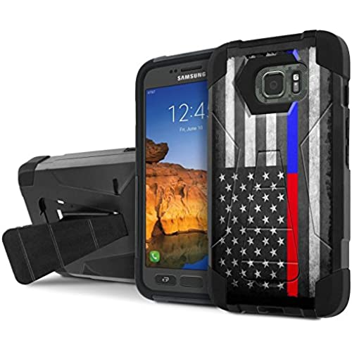 AT&T [Galaxy S7 Active] Combat Case [SlickCandy] [Black/Black] Armor Shell & Impact Resistant [Kick Stand] [Shock Proof] Phone Case - [Fire Police Red Blue Line] Sales