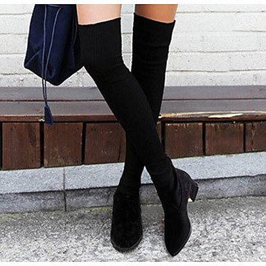 Spring Fabric Over US6 CN36 For EU36 UK4 The Boots Boots Boots Women'S Fashion Knee Shoes Black Fall RTRY Casual E8ntSwZq