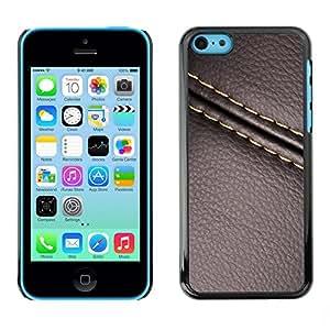 TopCaseStore / la caja del caucho duro de la cubierta de protección de la piel - Stitch Leather Brown Texture - Apple iPhone 5C