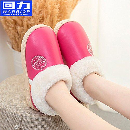 CWAIXXZZ pantofole morbide Inverno pacchetto coppie con uomini pantofole di cotone femmina impermeabili spessa pelle pu home scarpe indoor scarpe caldo per 35-36),2201 ,36/37( blue