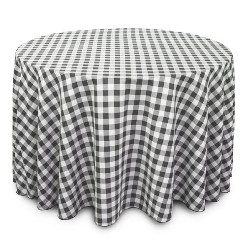 LinenTablecloth 108-Inch Round Polyester Tablecloth Black & White Checker