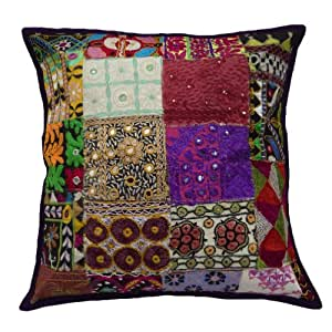 """Multicolor Decorative Pillow Cover Kutch Embroidered Patchwork Cushion Case Indian Gift 20""""Inches"""