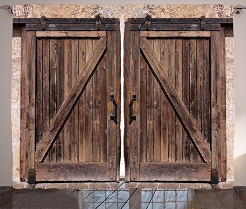 Ambesonne Rustic Curtains, Wooden Barn Door in Stone Farmhouse Image Vintage Desgin Rural Art Architecture Print, Living Room Bedroom Window Drapes 2 Panel Set, 108