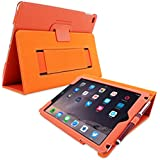 Snugg iPad 3 & 4 Case - Smart Cover with Flip Stand & Lifetime Guarantee (Orange Leather) for Apple iPad 3 and 4