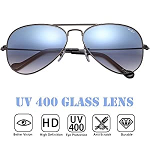 O-LET Aviator Sunglasses for Women Men with Real Glass Lens Aviators UV400 Protection
