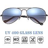 O-LET Small Aviator Sunglasses 55mm Aviators with Glass Lens UV400 Protection