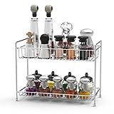Spice Rack Lifinity 2-Tier Spice Organizer Kitchen Bathroom Storage Organizer Standing Spice Shelf Holder Rack – Chrome