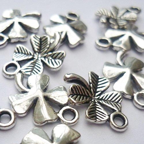 12 Four Leaf Clover Charms Antique Silver Tone (NS620)
