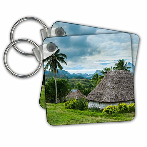 Danita Delimont - Fiji - Thatched roofed huts in Navala, the Ba Highlands of Viti Levu, Fiji - Key Chains - set of 2 Key Chains (kc_250337_1) (Hut Village In)