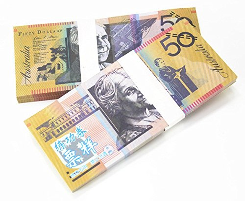 $50X100 Pcs Total $5000 Dollar Australian AUD Currency Props Money Bills Real Looking New Style Copy Double-Sided Printing - for Movie, TV, Videos, Advertising & Novelty