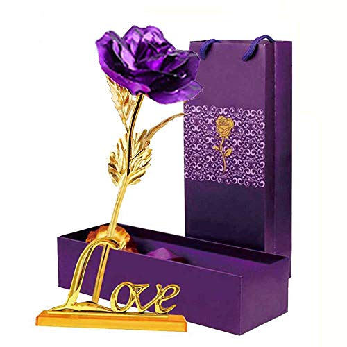 LOMIRO Girlfriend Gifts 24K Gold Foil Rose Flower with Love BaseGifts for Her,Mom on Valentine's Day,Mother's Day,Christmas,Thanksgiving,Anniversary,Birthday,Special Days (Purple) (Girlfriend Gifts Special)