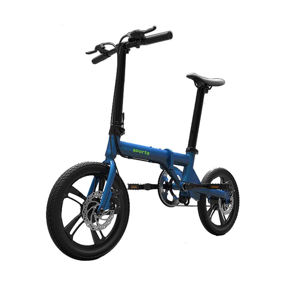 折りたたむ自転車 16インチ アシスト付き チューブバッテリー アルミフレーム 軽量 14kg  ブルー B07GD3L3SQ