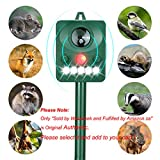 Wonninek Solar Animal Repeller, Ultrasonic Animal Repellent with LED Flashing Light Motion Sensor