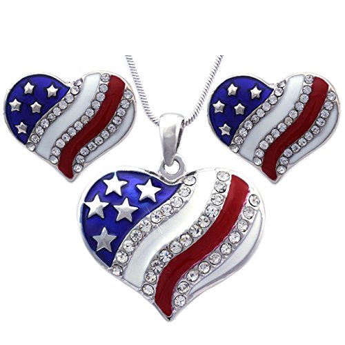 (cocojewelry 4th of July USA American Flag Heart Star Pendant Necklace Earrings Set (Heart Stud Silver-tone))