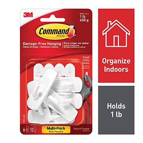 Command 17002-VP-6PK Small Hooks with Strips Value Pack - White, Pack of 1