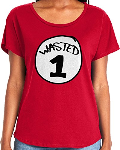 Amdesco Ladies Wasted 1 Dolman T-Shirt, Red -
