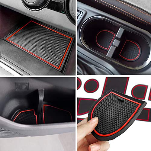 Anti-dust Door Mats for 2018 up Subaru Crosstrek and Impreza Gate Door Liners Inserts Cup Console Mats interior Accessories (Pack of 14, red)