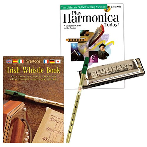 (Set) Irish Whistle and Play Harmonica Today! Self-Teaching Music (Harmonica Whistle)