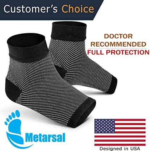 Foot Compression Socks with Ankle Support, Plantar Fasciitis Brace with Arch Support for Injury Recovery, Flat Feet, Foot Pain Relief, Eases Swelling, Heel Spurs, Achilles Tendon | Metarsal (S/M) by METARSAL